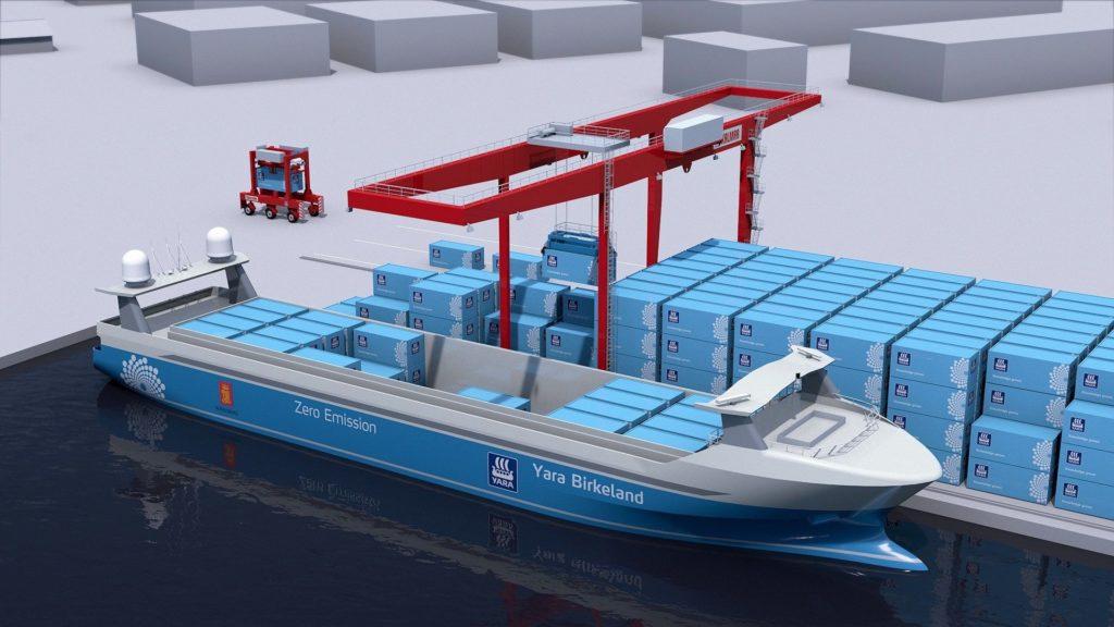 Autonomt drevet containerskip